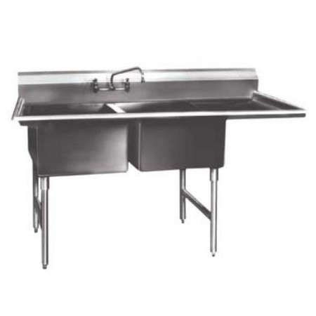 "Win-Holt WS2T1618RD18 Win-Fab Two Compartment Sink with Right-Hand Drainboard 54-1/2"" x 23-1/2"""