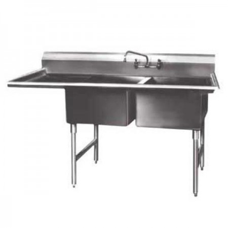 "Win-Holt WS2T1818LD18 Win-Fab Two Compartment Sink with Left-Hand Drainboard 58-1/2"" x 23-1/2"""
