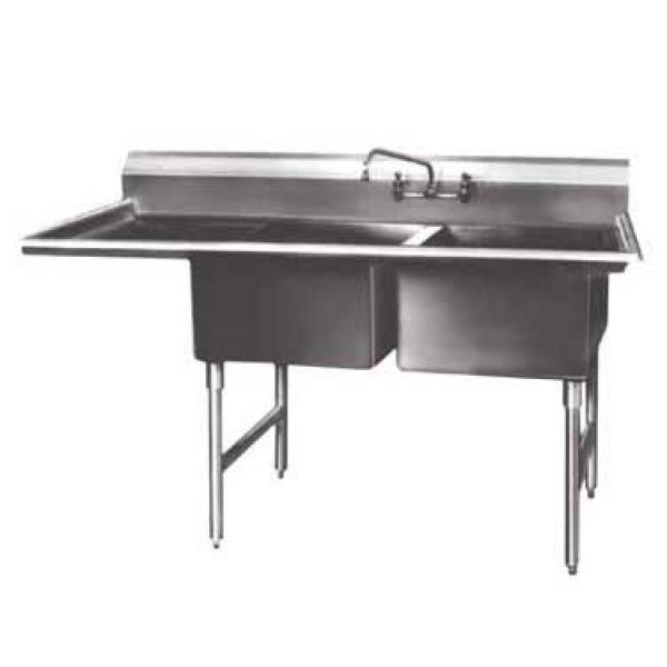 "Win-Holt WS2T1818LD24 Win-Fab Two Compartment Sink with Left-Hand Drainboard 64-1/2"" x 23-1/2"""
