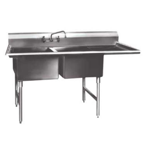 "Win-Holt WS2T1818RD24 Win-Fab Two Compartment Sink with Right-Hand Drainboard 64-1/2"" x 23-1/2"""
