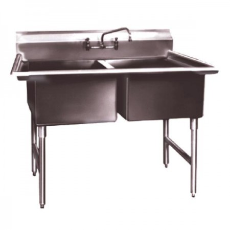"Win-Holt WS2T1824 Win-Fab Two Compartment Sink 43"" x 29-1/2"""
