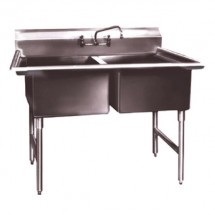 "Win-Holt WS2T2424 Win-Fab Two Compartment Sink 55"" x 29-1/2"""