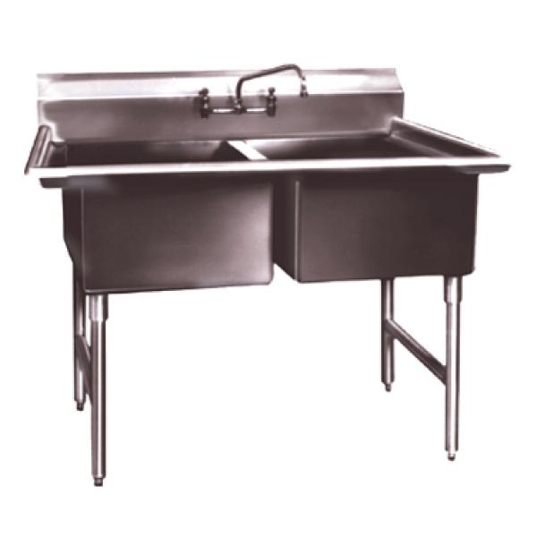 "Win-Holt WS2T2424 Two Compartment Sink, 24"" x 24"""
