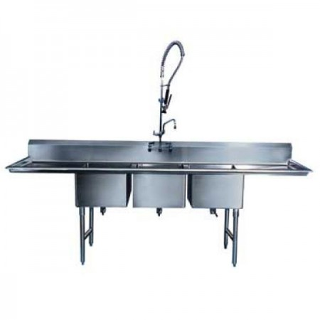 "Win-Holt WS3T10142D12 Win-Fab Three Compartment Sink with Two Drainboards 58-1/2"" x 19-1/2"""