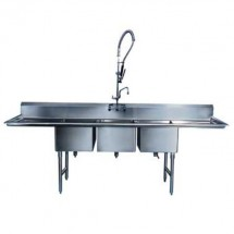"Win-Holt WS3T10142D18 Win-Fab Three Compartment Sink with Two Drainboards 70-1/2"" x 19-1/2"""