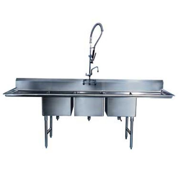 Win-Holt WS3T10142D18 Three Compartment Sink with Two Drainboards