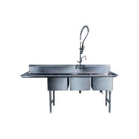 """Win-Holt WS3T1532LD18 Three Compartment Meat Department Sink with Left-Hand Drainboard 69-1/2"""" x 37-1/2"""""""