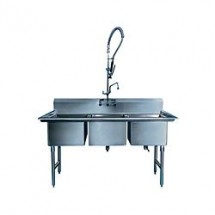 "Win-Holt WS3T1618 Three Compartment Sink 18"" x 16"""