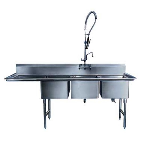 "Win-Holt WS3T1818LD18 Three Compartment Sink with Left Drainboard, 18"" x 18"""