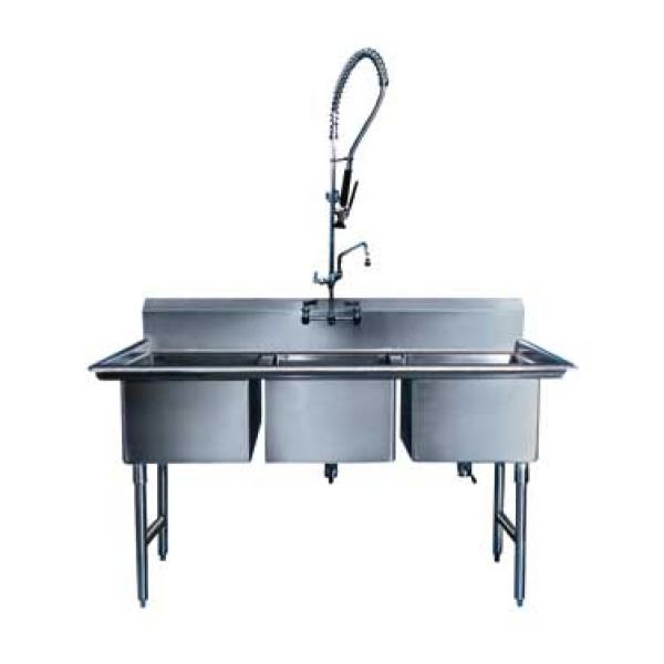 "Win-Holt WS3T1824 Win-Fab Three Compartment Sink 63"" x 29-1/2"""