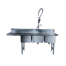 "Win-Holt WS3T1824LD18 Three Compartment Sink with Left-Hand Drainboard, 24"" x 18"""