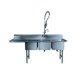"Win-Holt WS3T1824LD24 Win-Fab Three Compartment Sink with Left-Hand Drainboard 84-1/2"" x 29-1/2"""