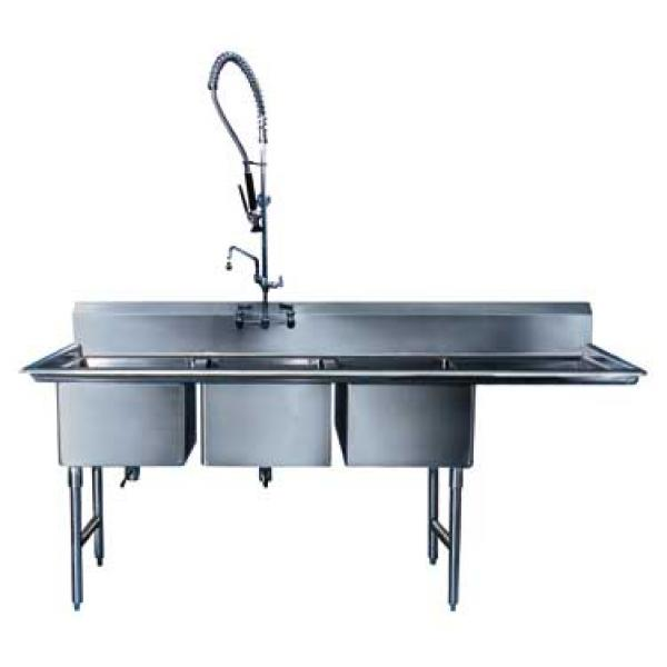"Win-Holt WS3T1824RD24 Three Compartment Sink with Right-Hand Drainboard 84-1/2"" L x 29-1/2"""