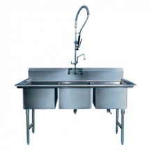 "Win-Holt WS3T2020 Win-Fab Sink, Three Compartment, 20"" x 20"""
