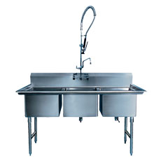 Win-Holt WS3T2028/14DP / 14GA Win-Fab Sink, Three Compartment, 14 Gauge