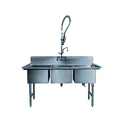 "Win-Holt WS3T2424 Three Compartment Sink, 24"" x 24"""