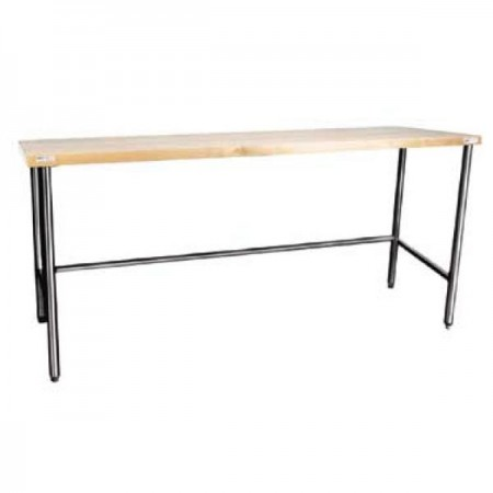 """Win-Holt WTS3672 Stainless Steel Maple Wood Top Table 36"""" x 72"""""""