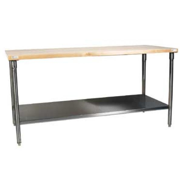 "Win-Holt WTSS3672 Standard Series Stainless Steel Maple Wood Top Table with Undershelf 36"" x 72"""