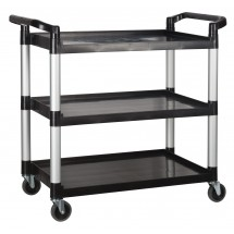 Winco UC-3019K Black 3-Tier Utility Cart 40-3/4″L x 19-1/2″W x 37-3/8″H