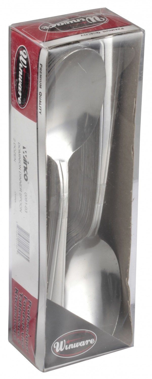 Winco 0081-03 Dominion Medium Weight Stainless Steel Dinner Spoon - 2 doz