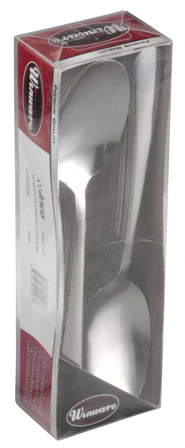 Winco 0082-03 Windsor Medium Weight Stainless Steel Dinner Spoon - 2 doz