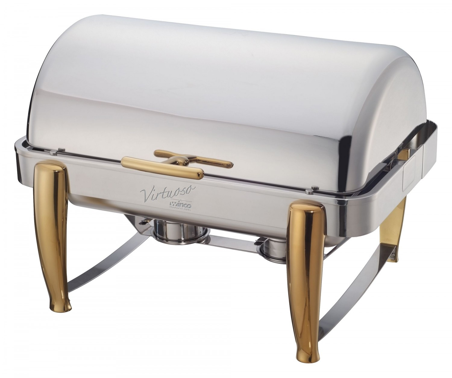Winco 101A Virtuoso Full Size Oblong Roll Top Chafer with Gold Accents 8 Qt.