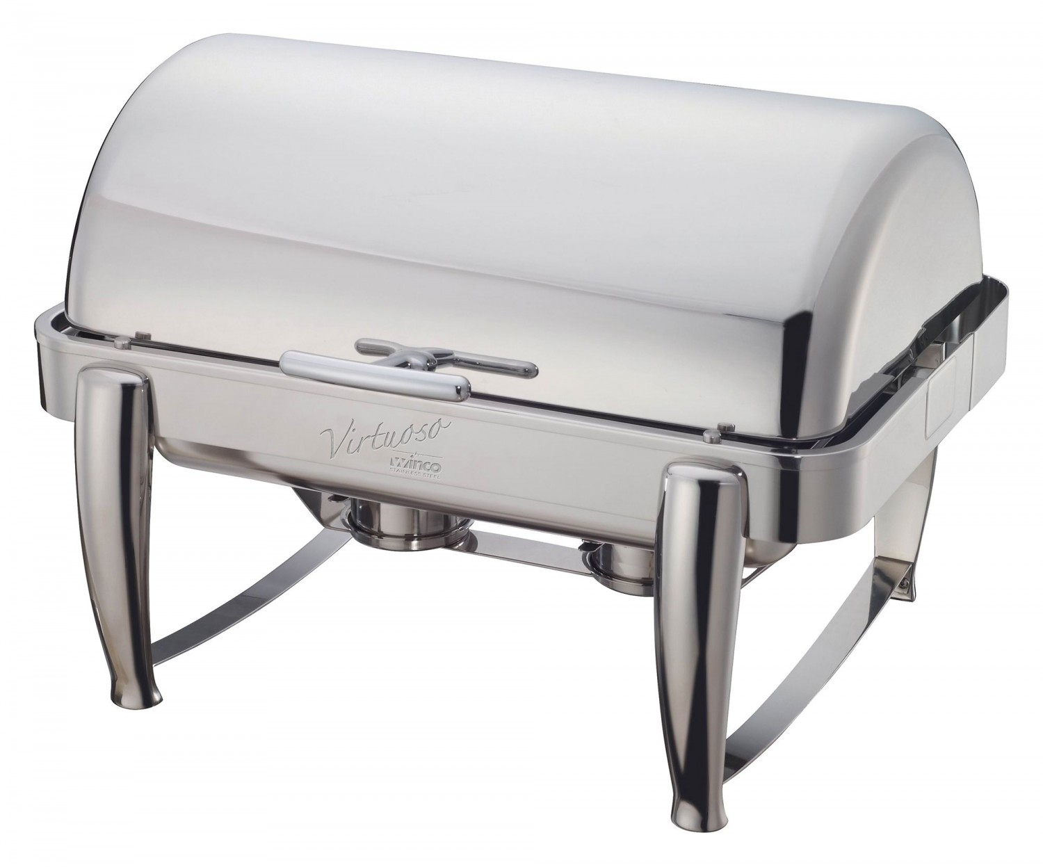 Winco 101B Virtuoso Full Size Oblong Roll Top Stainless Steel Chafer 8 Qt.