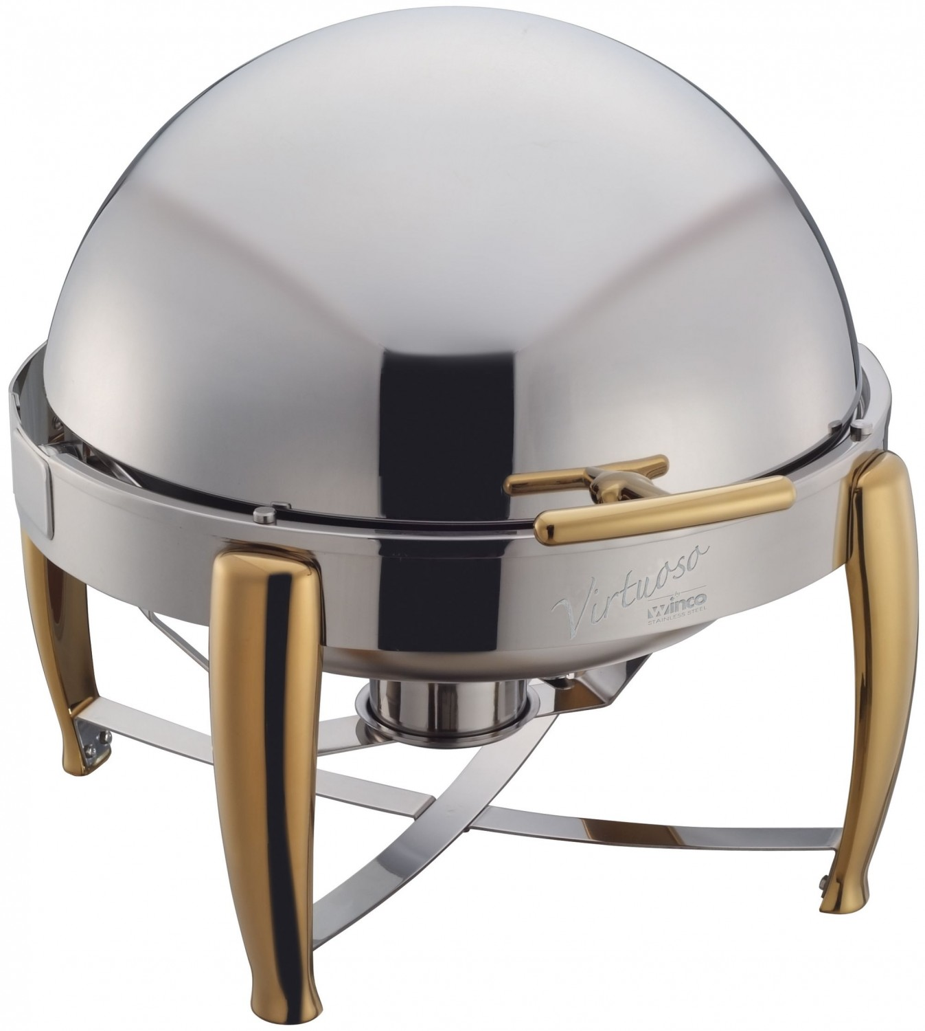 Winco 103A Virtuoso Full Size Round Roll Top Stainless Steel Chafer 6 Qt.