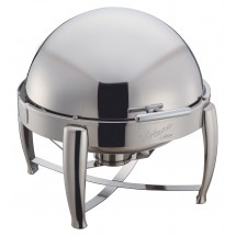 Winco 103B Virtuoso Full Size Round Roll Top Stainless Steel Chafer 6 Qt.
