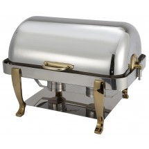 Winco 108A Vintage Full Size Stainless Steel Chafer with Gold Accents 8 Qt.