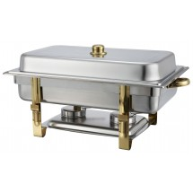 Winco 201 Malibu Oblong Stainless Steel Chafer With Gold Accents 8 Qt.