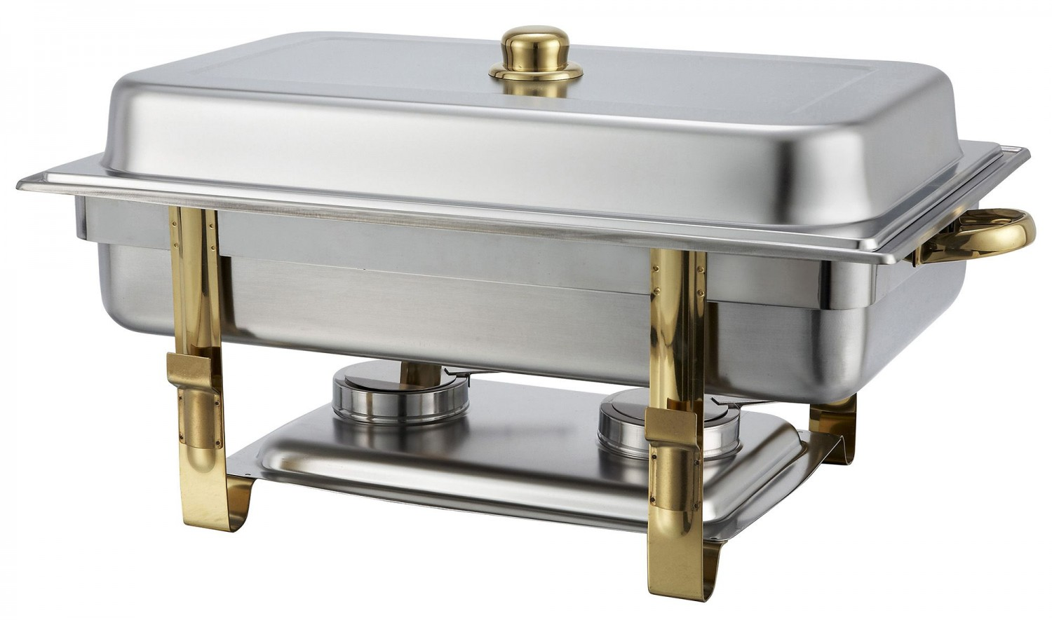 Winco 201 Oblong 8 Quart Chafer with Gold Accents