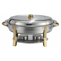 Winco 202 Malibu Oval Stainless Steel Chafer with Gold Accents 6 Qt.