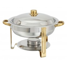 Winco 203 Malibu Round Stainless Steel Chafer 4 Qt.