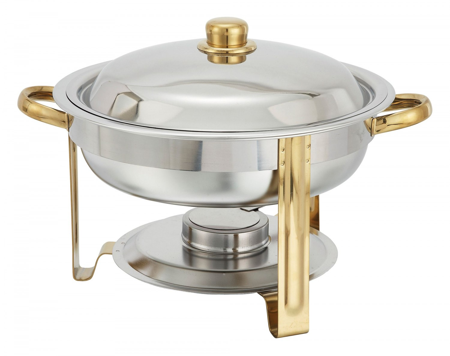 Winco 203 Round Stainless 4 Quart Chafer