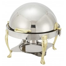 Winco 308A Vintage Round Stainless Steel Rolltop Chafer with Gold Accents 6 Qt.