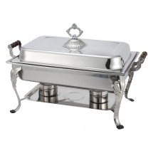 Winco 408-1 Crown Full Size Rectangular Stainless Steel Chafer with Lift-Off Lid 8 Qt.