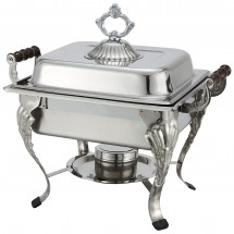 Winco 508 Crown Half-Size Square Stainless Steel Chafer with Lift-Off Lid 4 Qt.