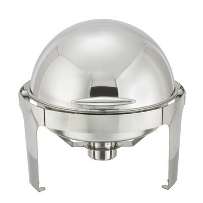 Winco 602 Madison Round Stainless Steel Roll-Top Chafer 6 Qt.