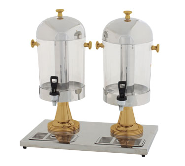 Winco 906 Stainless Steel 2-Piece Juice Double Dispenser With Gold Leg 7-1/2 Qt.