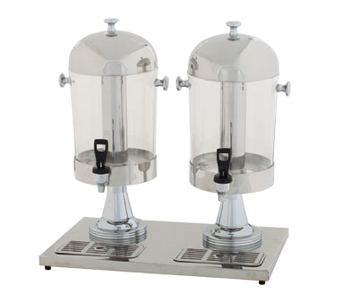 Winco 907 Stainless Steel 2-Piece Double Juice Dispenser 7 1/2 Qt.