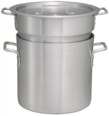 Winco ALDB-8 Aluminum Double Boiler with Cover 8 Qt.