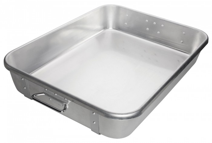 "Winco ALRP-1824 Aluminum Double Roast Pan with Straps 18"" x 24"""