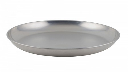 Winco ASFT-14 Round Brushed Aluminum Seafood Platter Tray 120 oz.