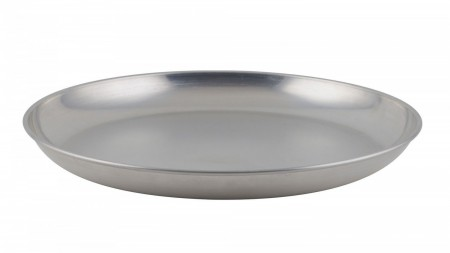 Winco ASFT-18 Round Brushed Aluminum Seafood Platter Tray 200 oz.