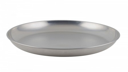 Winco ASFT-20 Round Brushed Aluminum Seafood Platter Tray 250 oz.