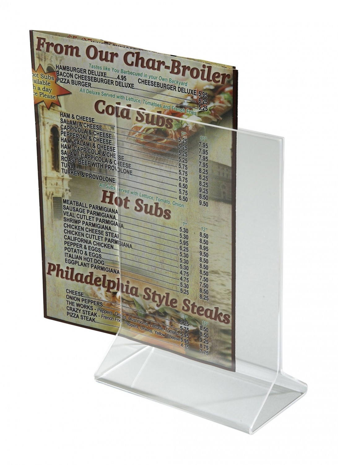 "Winco ATCH-46 Acrylic Menu Card Holder 4"" x 6&quot ;"