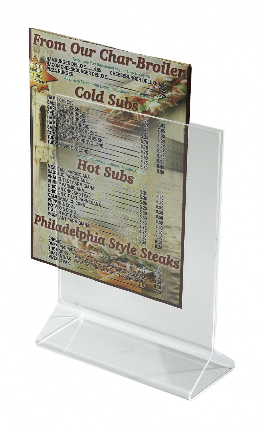 "Winco ATCH-57 Acrylic Menu Card Holder 5"" x 7"""