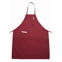 Winco BA-PBG Burgundy Full-Length Bib Apron with Pocket