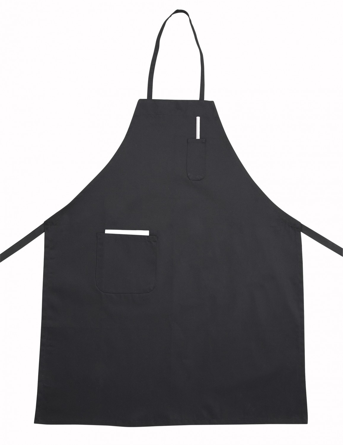 Winco BA-PBK Black Full-Length Bib Apron with Pocket